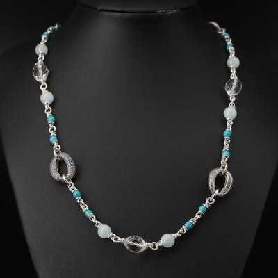 Michael Dawkins Sterling Rock Crystal Quartz, Quartz and Faux Turquoise Necklace