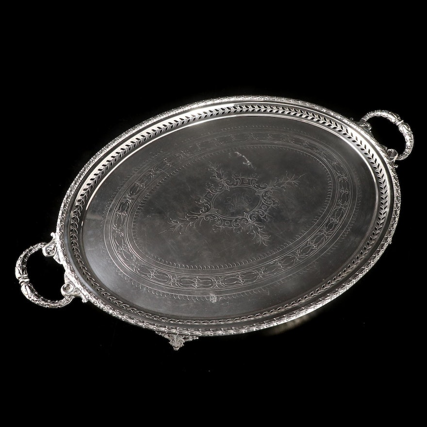 Silver Plate Tray with Pierced Laurel Gallery and Etched Designs, Mid 20th C.
