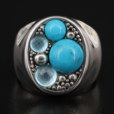 Michael Dawkins Sterling Turquoise and Topaz Ring with Granulation Design
