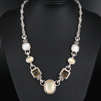 Michael Dawkins Citrine and Mother of Pearl Necklace
