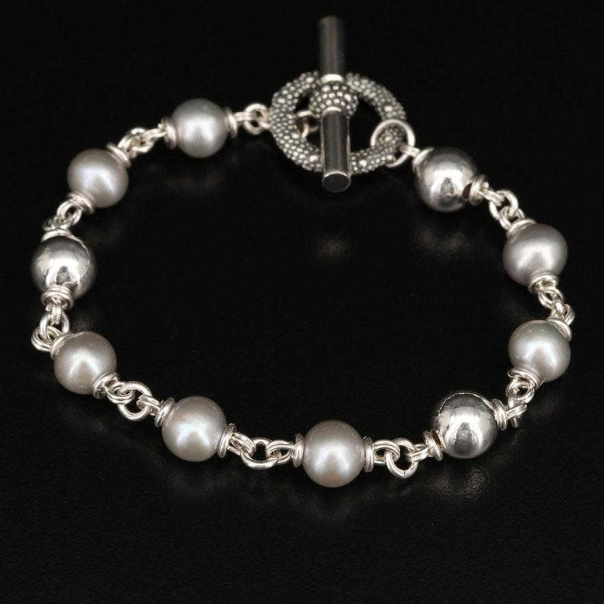 Michael Dawkins Sterling Silver Pearl Bracelet