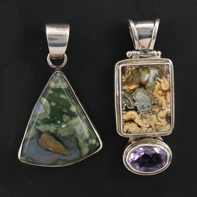 Sterling Silver Pendants Featuring Jasper and Amethyst Including Sarda