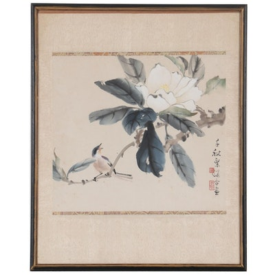 Chinese Watercolor Painting of Plum Blossom and Swallow