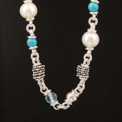 Michael Dawkins Sterling Pearl, Topaz and Faux Turquoise Station Necklace