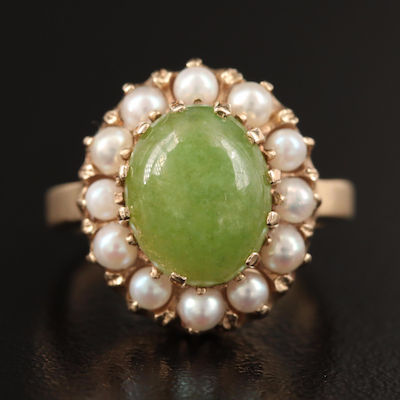 14K Jadeite and Pearl Ring