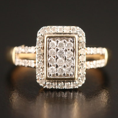 10K Diamond Ring with Split Shoulders