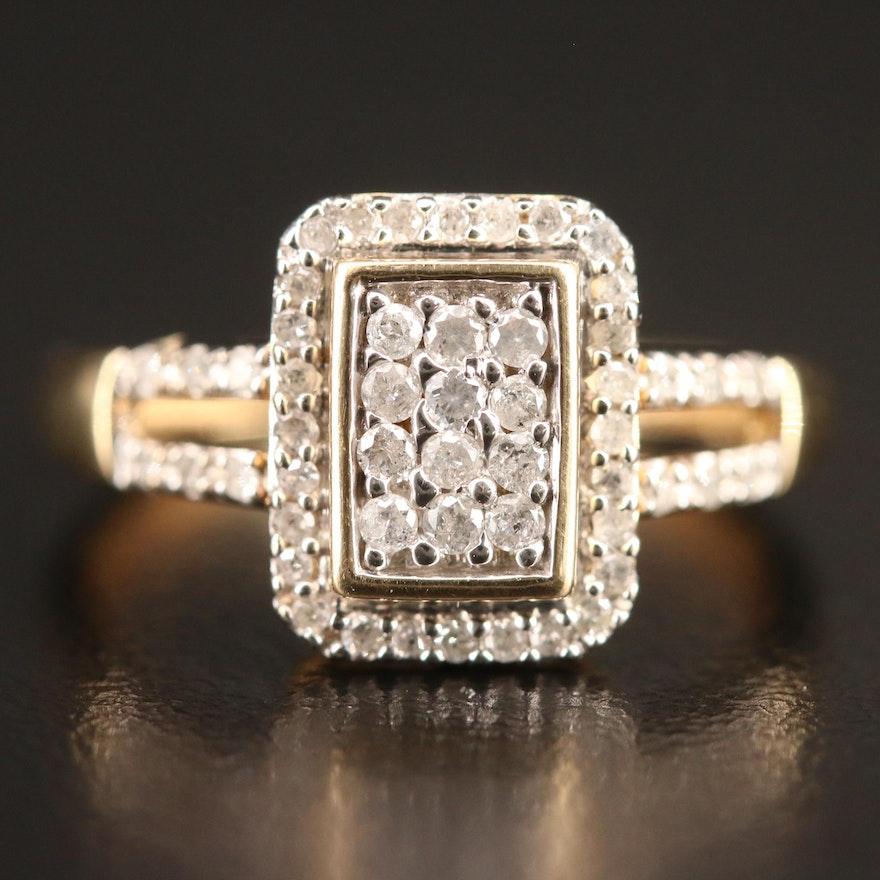 10K Diamond Ring with Split Shoulders