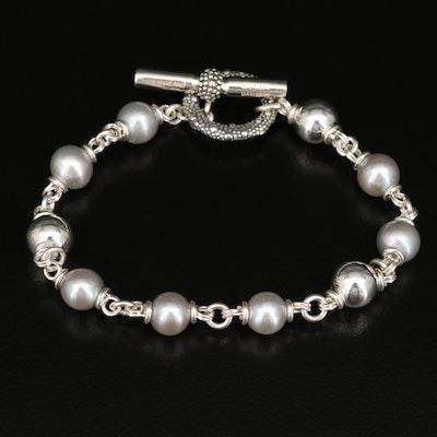 Michael Dawkins Sterling Silver Pearl Link Bracelet