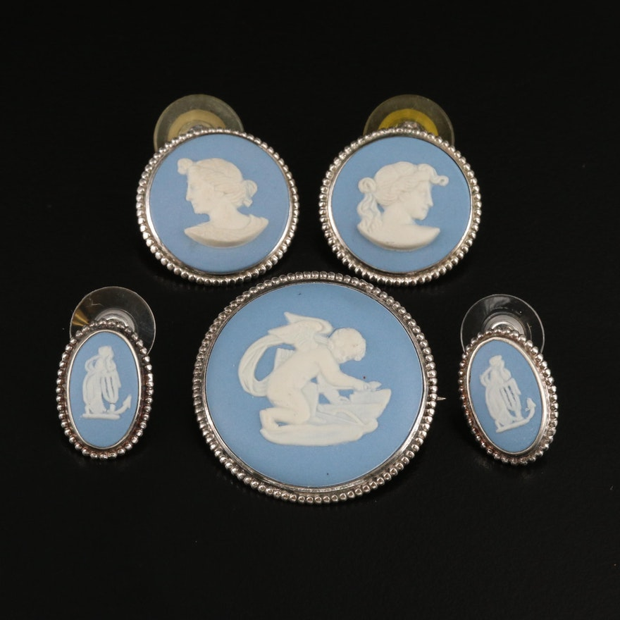 Vintage Wedgwood Sterling and 800 Silver Jasperware Cameo Earrings and Brooch