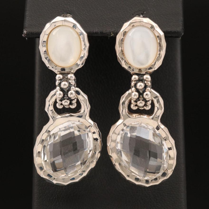 Michael Dawkins Sterling Rock Quartz Crystal and Mother of Pearl Earrings