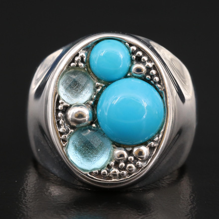 Michael Dawkins Turquoise and Topaz Ring with Granulation