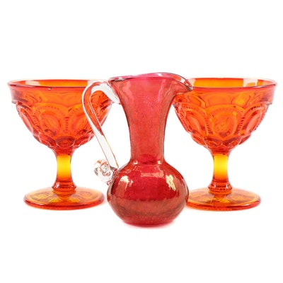 "Amberina ""Moon and Stars"" Sherbet Glasses and Blown Glass Pitcher"