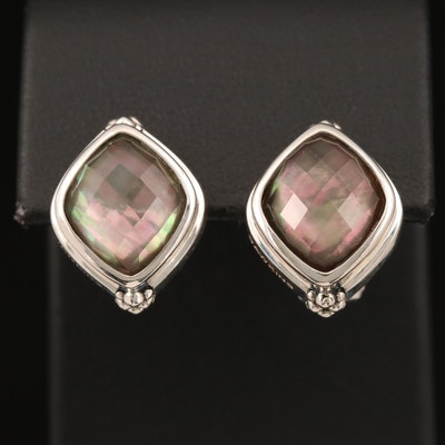 Michael Dawkins Sterling Quartz Mother of Pearl Doublet Earrings