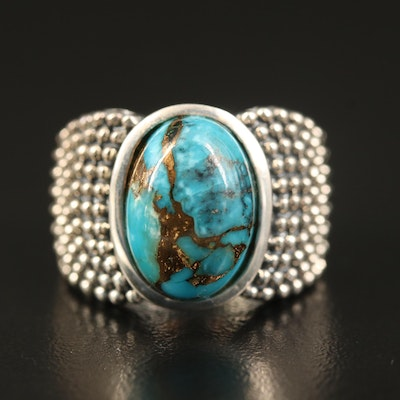 Michael Dawkins Sterling Turquoise Ring with Bead Shoulders