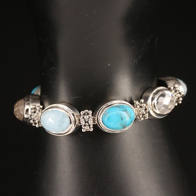 Michael Dawkins Link Bracelet Featuring Aquamarine and Turquoise in Sterling