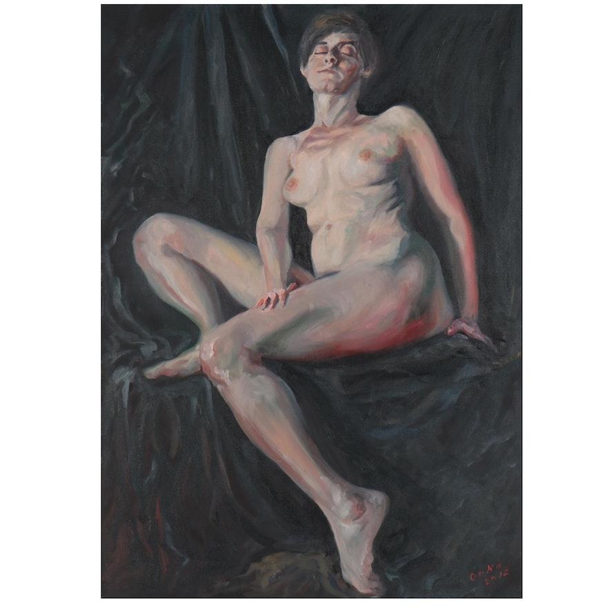 "Kaz Ooka Oil Painting ""A Woman's Figure,"" 2012"