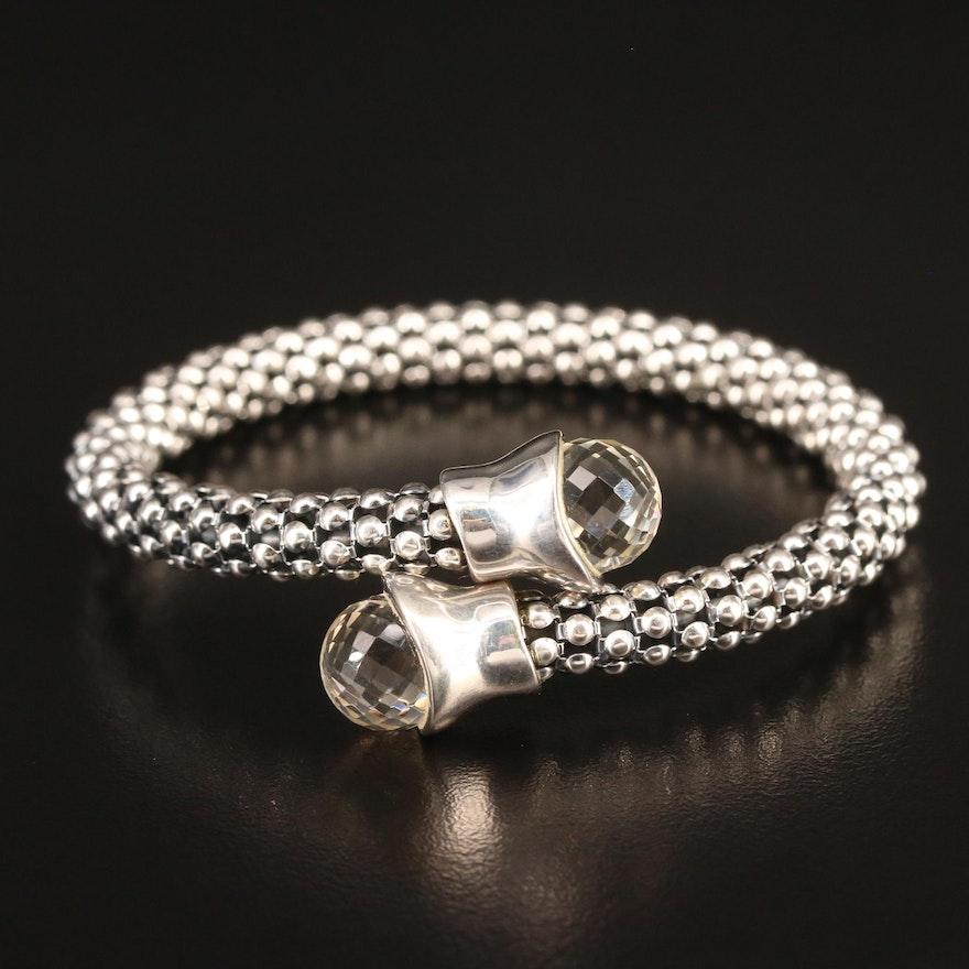 Michael Dawkins Rock Crystal Quartz Bypass Bracelet in Sterling