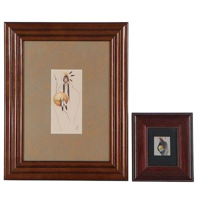 Tillier Wesley Gouache Paintings of Native American Figures