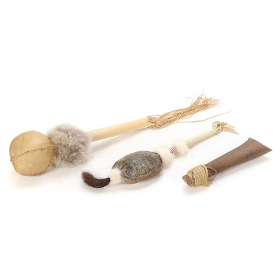 Iroquois Birch Bark Rattle, Cherokee Bearded Turtle Rattle and More