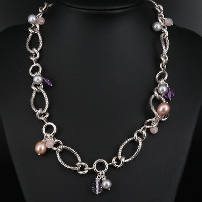 Michael Dawkins Sterling Necklace with Amethyst, Rose Quartz and Pearl