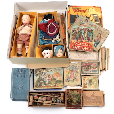 Berwick Fam-lee Doll, McLoughlin Bros. and Milton Bradley Games, Early 20th C.