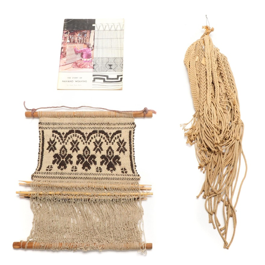 """""""The Story of Navaho Weaving"""" by Kate Peck Kent with Model Loom and Plaited Rope"""