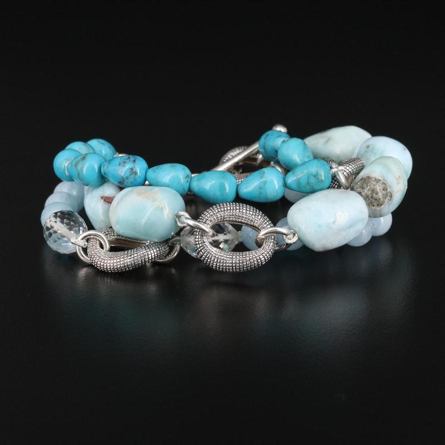 Michael Dawkins Sterling Silver Triple Strand Gemstone Bracelet
