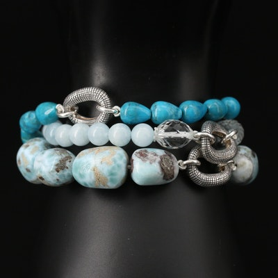 Michael Dawkins Sterling Triple Strand Bracelet with Turquoise and Larimar