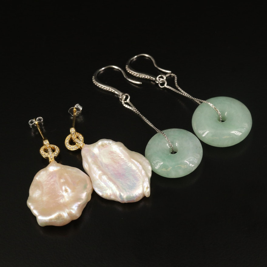 Sterling Pearl and Jadeite Bi-Disk Earrings with Cubic Zirconia Accents