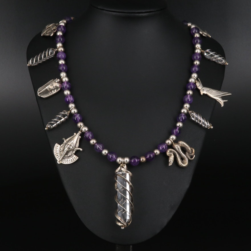 Carol Felley Sterling Rock Crystal Quartz and Amethyst Egyptian Themed Necklace