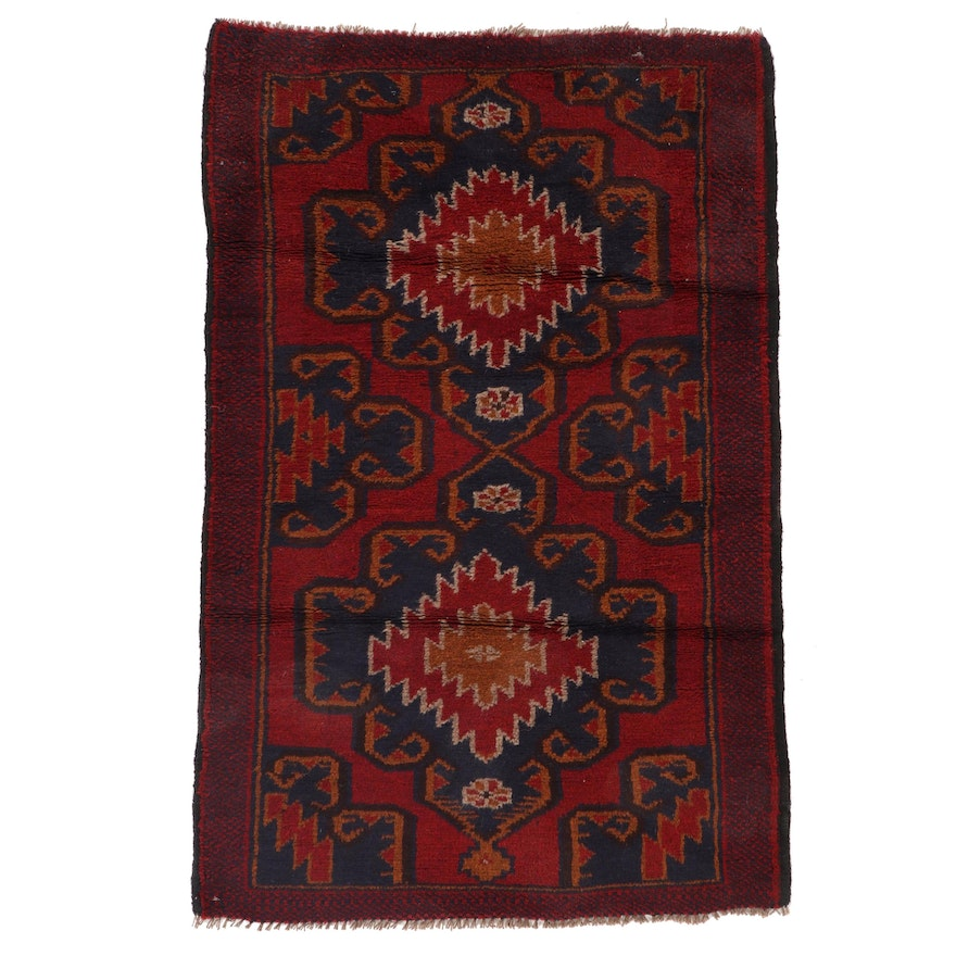 2'11 x 4'3 Hand-Knotted Afghan Baluch Accent Rug, 2000s