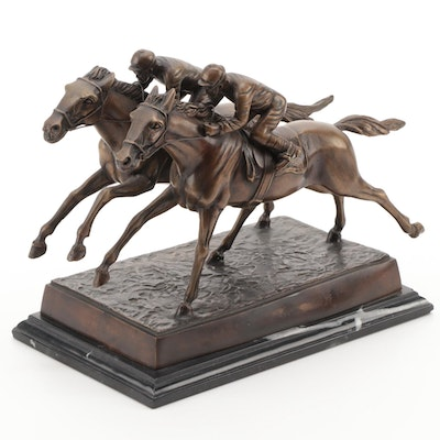 Jockeys on Horses Bronze Figurine