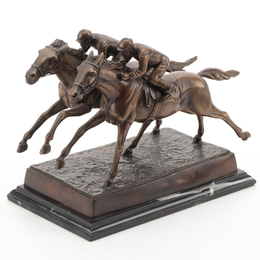 Jockeys on Horses Bronze Figurine