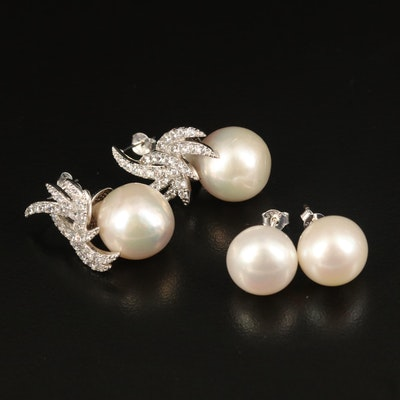 Sterling Silver Pearl Earrings with Cubic Zirconia Accents