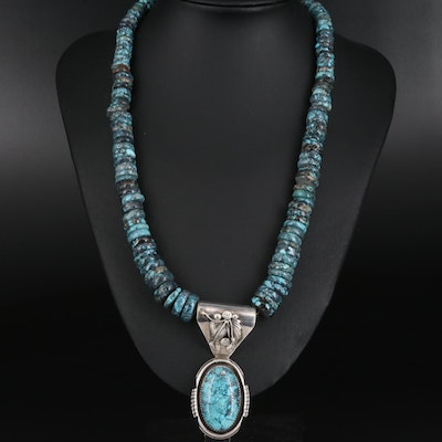 Southwestern Style Graduated Turquoise Heishi Necklace with Pendant