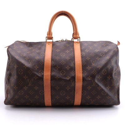 Louis Vuitton Keepall 45 Duffel Bag in Monogram Canvas and Vachetta Leather Trim