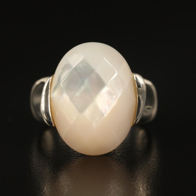 Michael Dawkins Sterling Faceted Mother of Pearl Ring