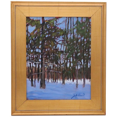 "Jay Wilford Oil Painting ""Winter Pines,"" 21st Century"