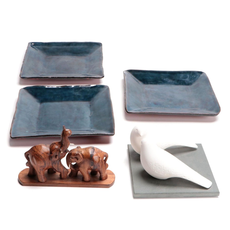 Glazed Terracotta Square  Plates with Other Tabletop Decor, Late 20th to 21st C.