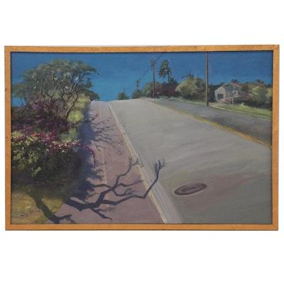 """Kaz Ooka Oil Painting """"A Street View in Kaimuki #1"""""""