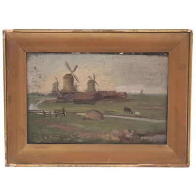 Dutch Style Oil Painting of Windmill Farm, Late 19th to 20th Century
