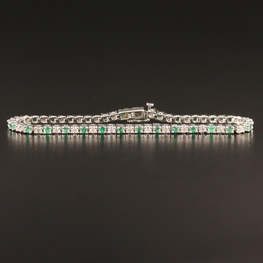 Sterling Silver Emerald and White Topaz Tennis Bracelet
