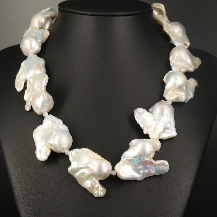 Baroque Pearl and Jadeite Necklace with 14K Clasp