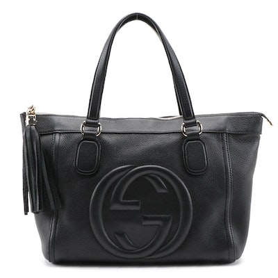 Gucci Soho Tassel Tote in Black Pebbled Calfskin Leather