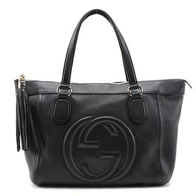 Gucci Soho Tassel Tote in Black Pebbled Calfskin Leather