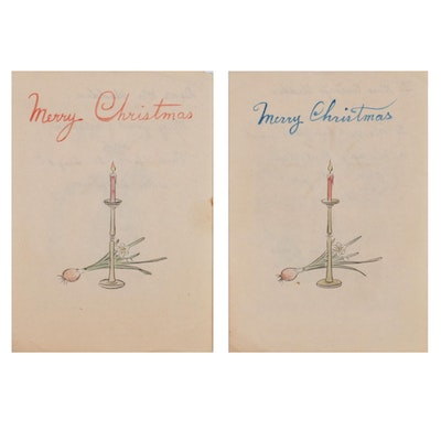 East Asian Mixed Media Christmas Cards, Early 20th Century