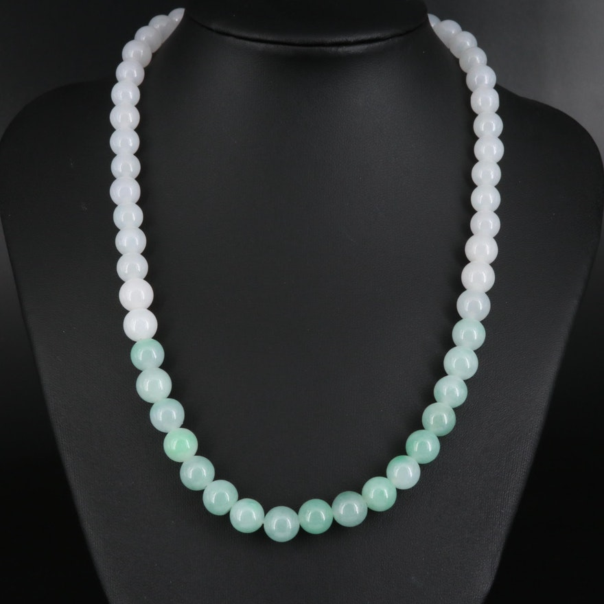 Gradient Jadeite Beaded Necklace with 14K Clasp