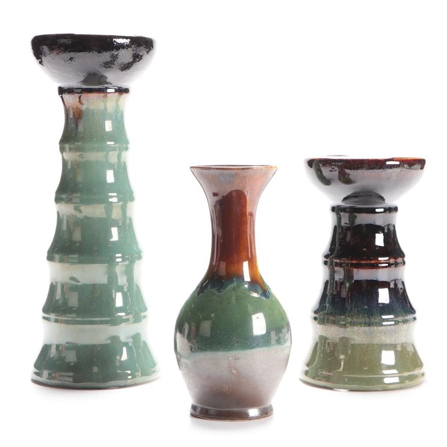 Glazed Ceramic Candle Holders and Vase