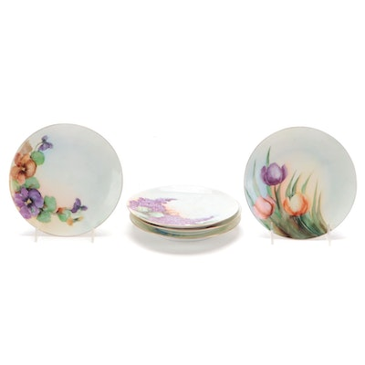 Hobbyist Hand-Painted Porcelain Plates, Mid-20th Century