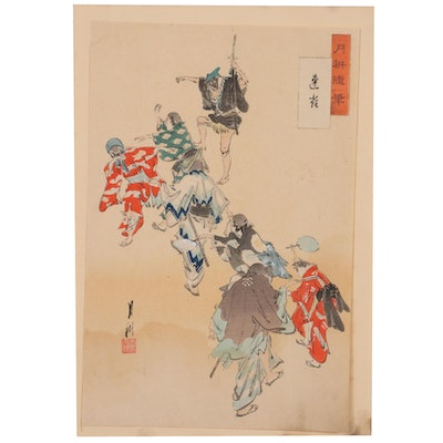 """Embellished Woodblock after Ogata Gekkō """"Sparrows,"""" Early 20th Century"""